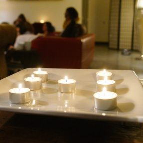 Visioning candles on table